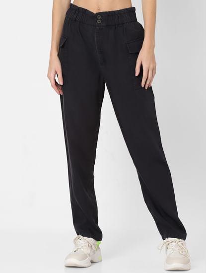 Black High Rise Paperwaist Pants