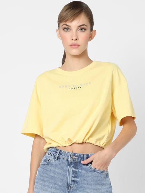 Yellow Slogan Print Cropped Sweatshirt