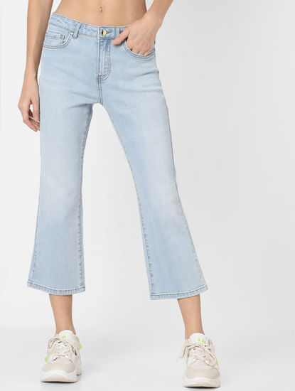 Light Blue Mid Rise Flared Jeans