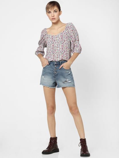 Multi-coloured Floral Puff Sleeves Top