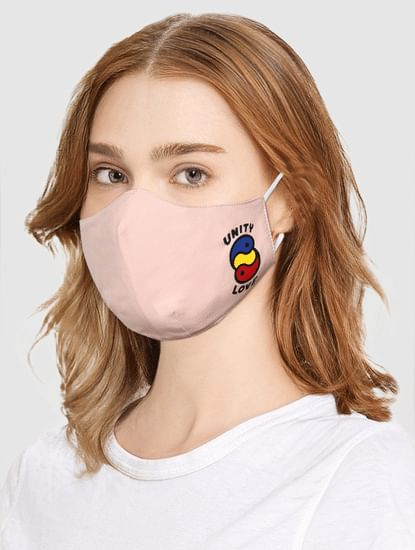 Pink Graphic Print MASK WITH N95 REPLACEABLE FILTERS