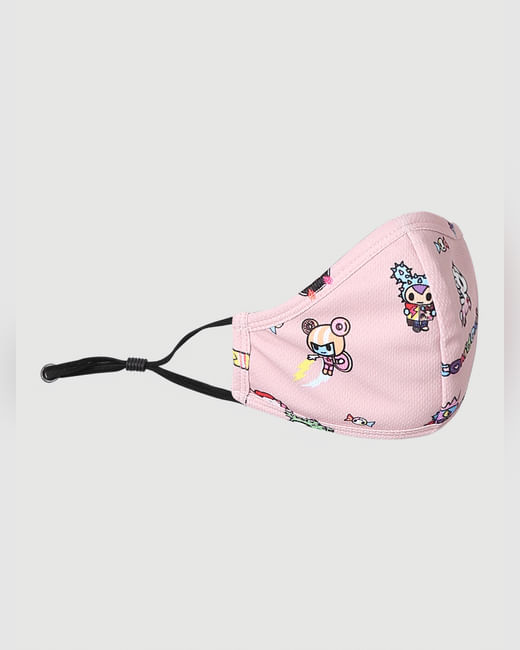 X tokidoki Pink All Over Print Knit 3PLY Anti-Bacterial Mask