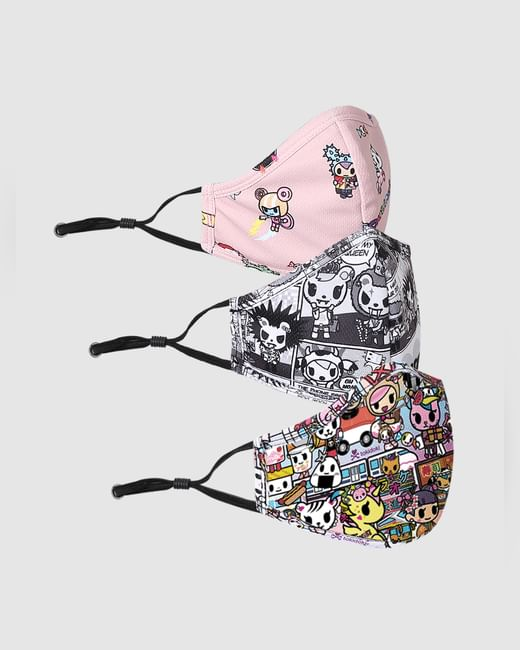 X tokidoki PACK OF 3 ALL OVER PRINT KNIT 3PLY ANTI-BACTERIAL MASK