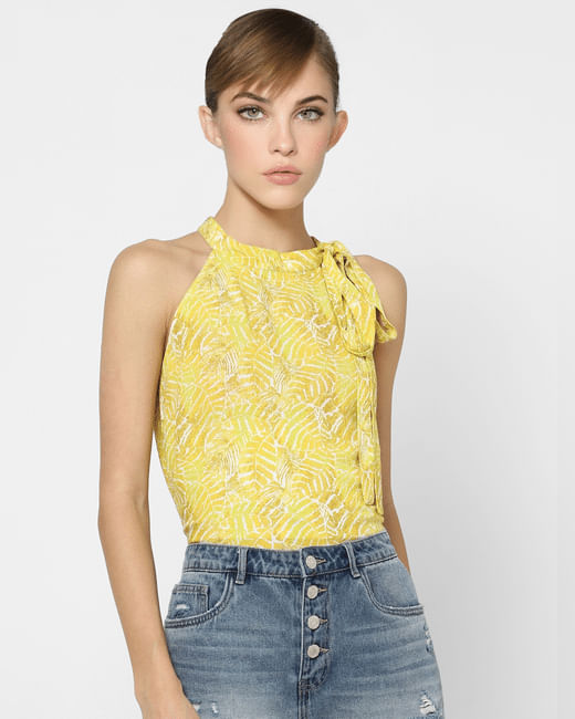 Yellow Leaf Print Halter Neck Top