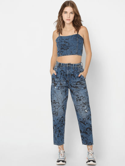 X FLABJACKS Blue Mid Rise Slouchy Fit Co-ord Jeans