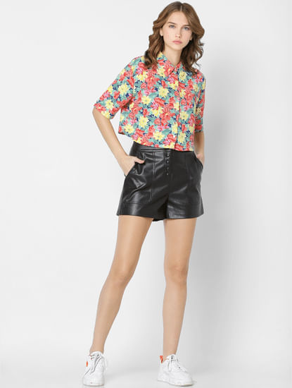 X FLABJACKS Multi-coloured Floral Cropped Shirt