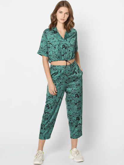 X FLABJACKS Green Mid Rise Co-ord Joggers