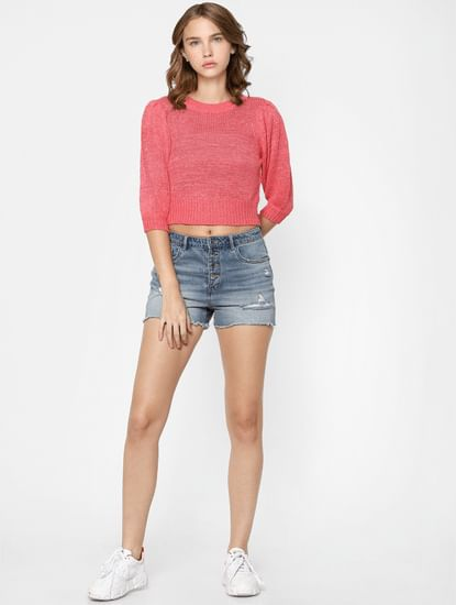 Pink Knit Cropped Pullover