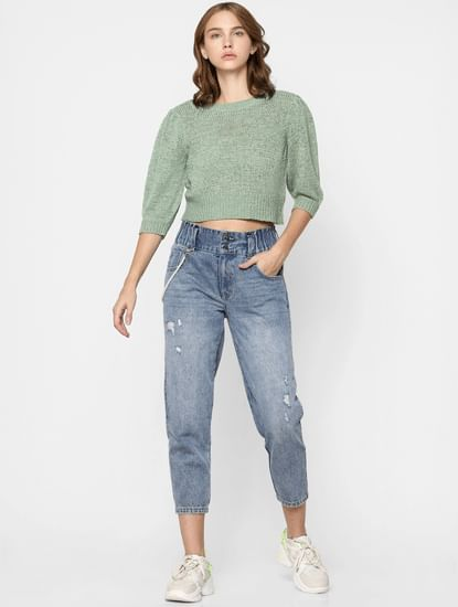 Green Knit Cropped Pullover