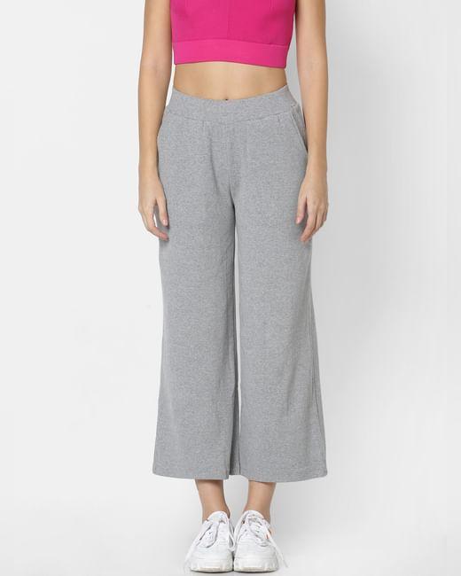 Grey Mid Rise Wide Leg Pants