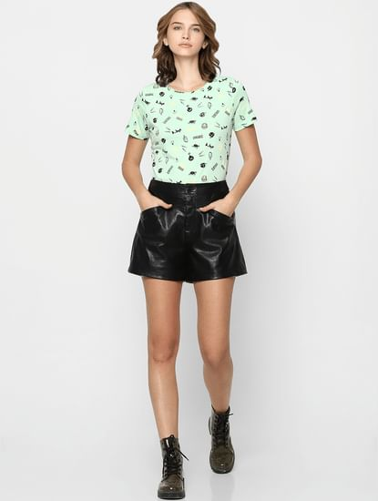 Green All Over Graphic Print T-shirt