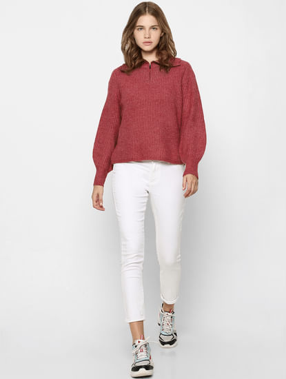 Red High Neck Pullover