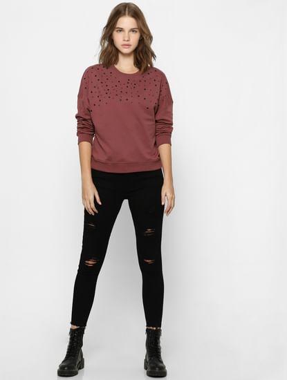 Brown Organic Cotton Embellished Sweatshirt