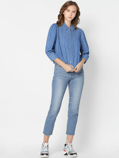 Blue Puff Sleeves Denim Shirt