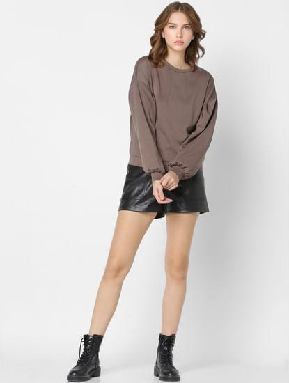 Brown Drop Shoulder Sweatshirt