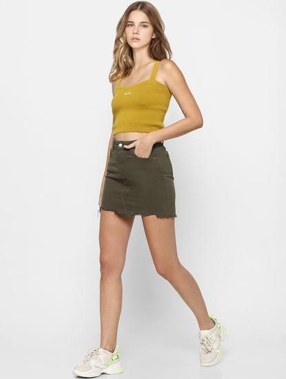 Green Raw Hem Denim Skirt