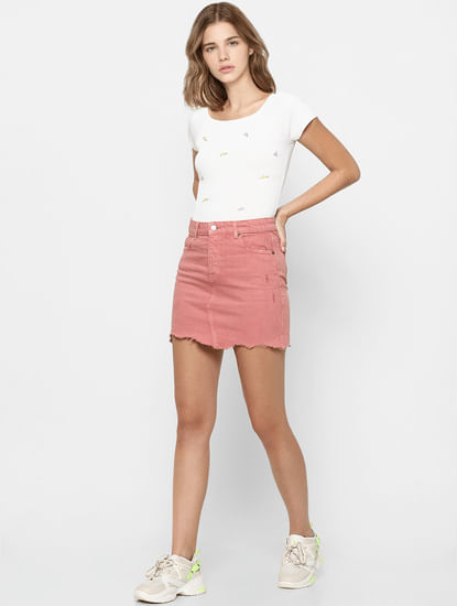 Pink Raw Hem Denim Skirt