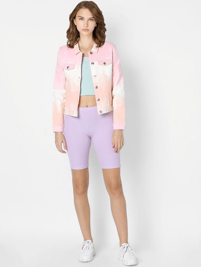 Lilac High Rise Biker Shorts