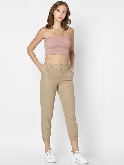 Khaki Mid Rise Slim Fit Pants