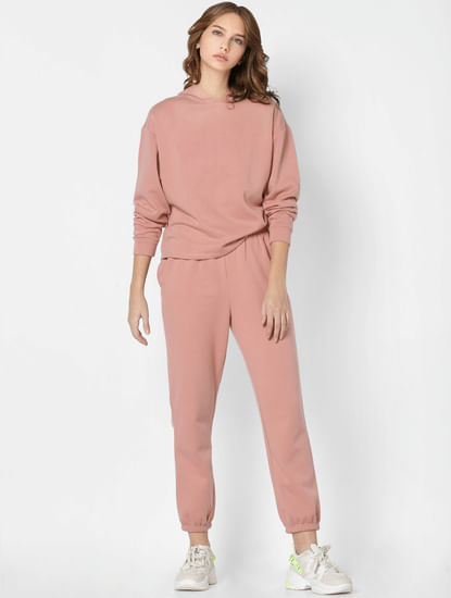Pink Mid Rise Co-ord Sweatpants