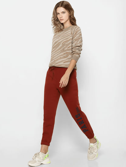 Beige Animal Print Pullover