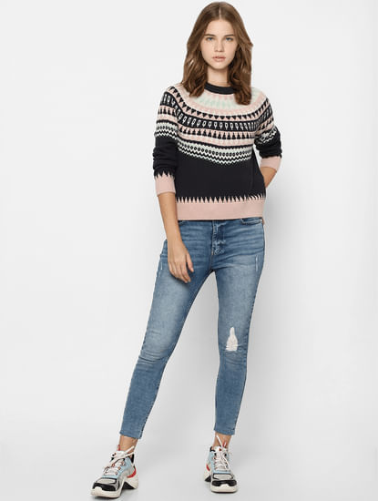 Blue Geometric Patterend Pullover