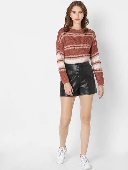 Brown Striped Drop Shoulder Pullover