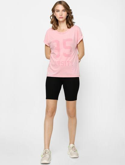 Pink Acid Washed Varsity T-shirt