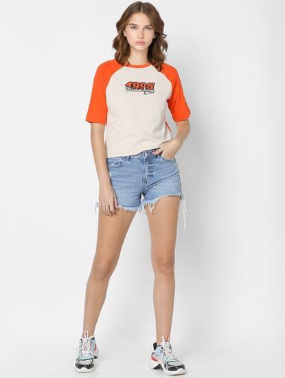 Beige Colourblocked Sleeves T-shirt