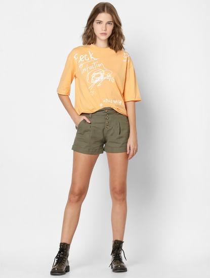 Orange Scribble Print T-shirt