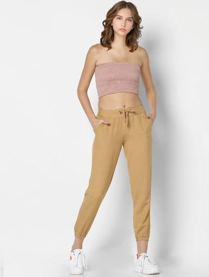 Beige Mid Rise Joggers