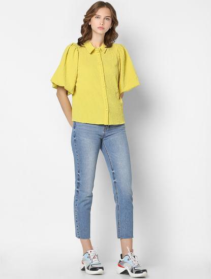 Yellow Textured Puff Sleeves Shirt