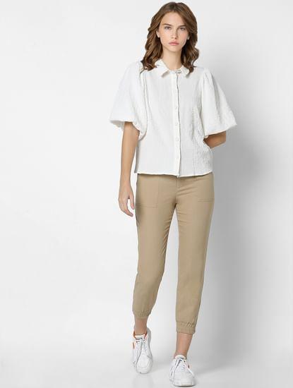 White Textured Puff Sleeves Shirt