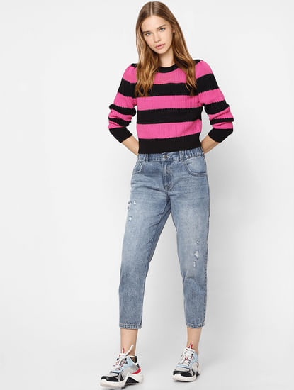 Black & Pink Striped Knit Pullover