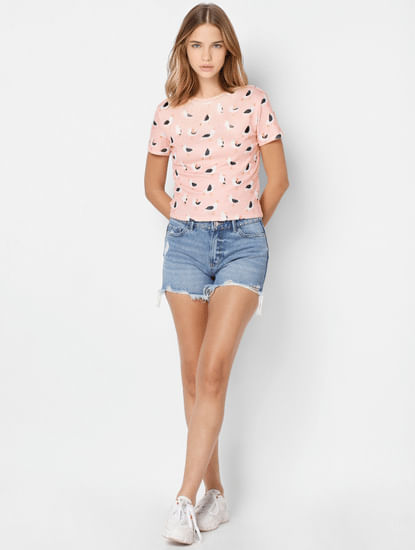 Pink All Over Print Ribbed T-shirt