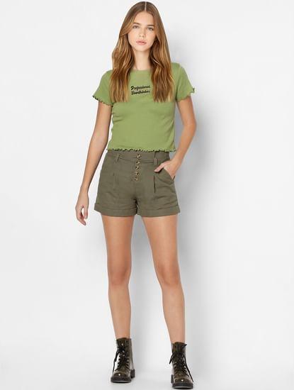 Green Slogan Print Lettuce Hem T-shirt