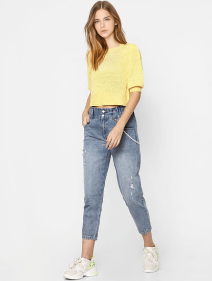 Yellow Puff Sleeves Knit Pullover