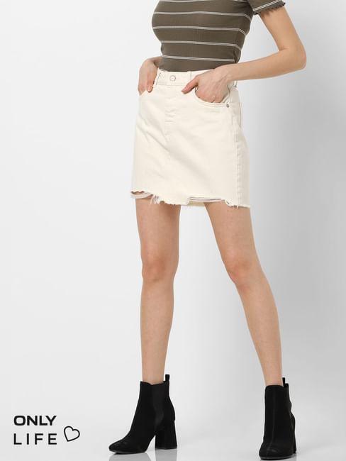Ecru Mid Rise Raw Edge Denim Skirt