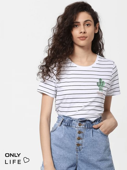 White Striped Embellished Graphic T-shirt