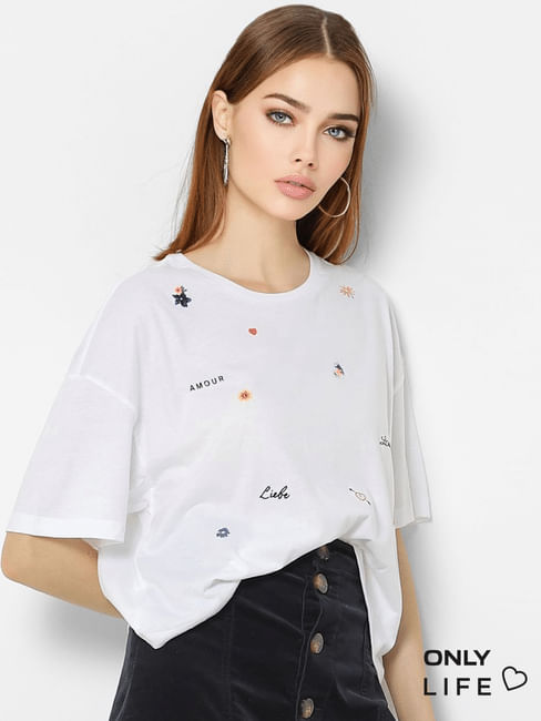 White Graphic Print Loose Fit T-shirt