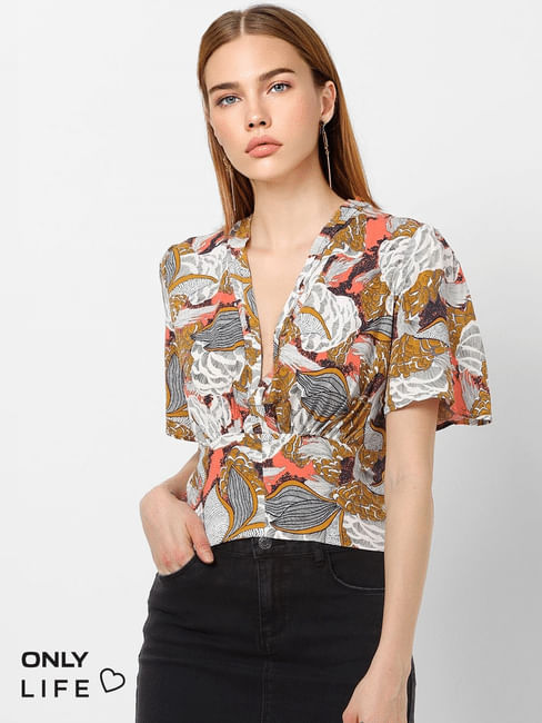 Multi-Coloured All Over Print Top
