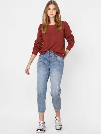 Red Self Design Pullover