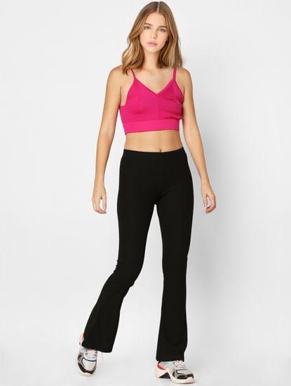 Black Jersey Flared Pants
