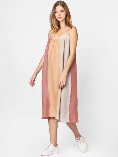 Multi-Coloured colourblocked Midi Dress