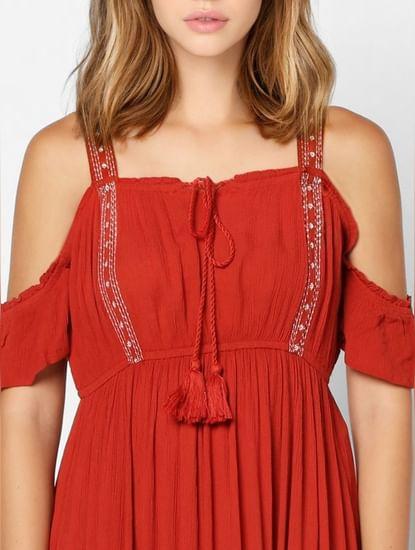 Red Cold Shoulder Fit & Flare Dress