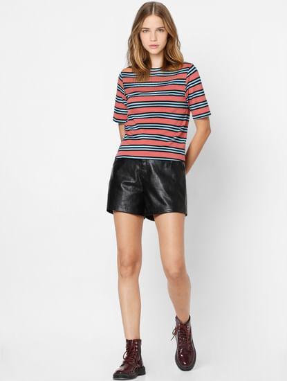 Peach Striped Knit Top