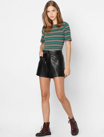 Green Striped Knit Top