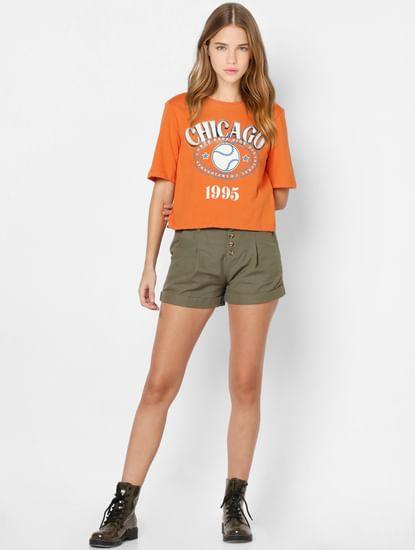 Orange Text Print T-shirt