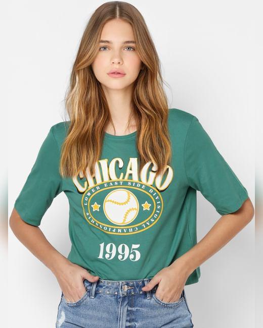 Green Text Print T-shirt