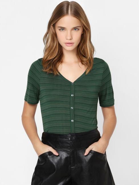 Dark Green Striped V Neck T-shirt